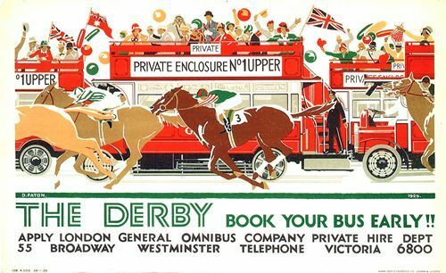 A2 Print 1929 Epsom Derby Horse Racing Transport Poster A3