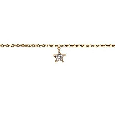 925 Sterling Silver Chain Bracelet dangle Star Yellow Gold Plated 7.5inch Cls