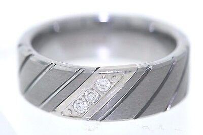 100% Wahr Triton 8mm Wolfram .10 Karat-gewicht Diamant Akzent Diagonale Kerben Ehering