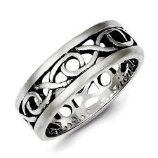 Men's 925 Sterling Silver Polished & Satin Finish X & O Design Band Size 10