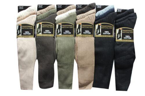 Hommes 6prs long tuyau en coton côtelé plain long genou chaussettes