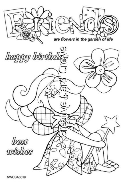 NITWIT PETAL PIXIE STAMP FRIENDS  Clear Rubber Stamp Set Card Making Craft