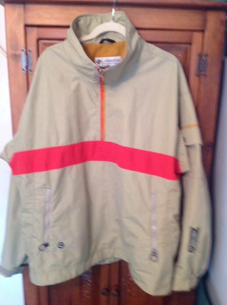 Mens COLUMBIA CONgreen 1 2 Zip Tan Red gold Lined Windbreaker Size XL