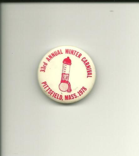 1978 Pittsfield Mass 33rd Annual Winter Carnival Pin MA Pinback Button Berkshire