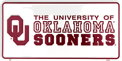 Oklahoma Sooners Diamond License Plate Tag Wall Sign Man Cave FAST USA SHIPPING