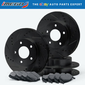 Fits: 2008 08 Ford F350 Super Duty 4WD Single Rear Wheel Models E-Coated Slotted Drilled Rotors + Metallic Pads Max Brakes Front /& Rear Elite Brake Kit TA109283