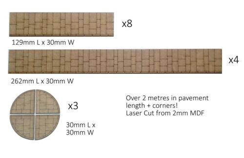 OO gauge Pavement Sections With 12 Corner Pieces Over 2 metres of pavement