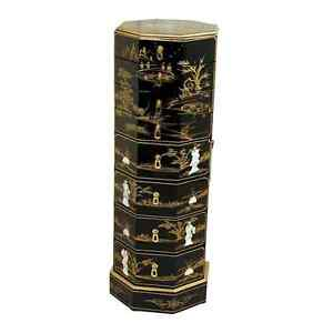 Image Is Loading Mother Of Pearl Oriental Furniture Black Lacquer Octagonal