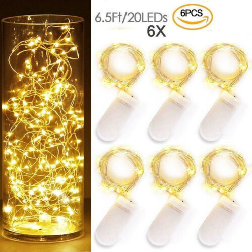 6 Pack 2M//6.6FT LED MICRO Silver Copper Wire String Fairy Lights Decoration