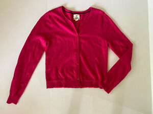 Lands' End Dark Hot Pink Cardigan Button Up Knit Sweater Size M 10-12