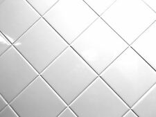White 4x4 Shiny Glossy Finish Ceramic Tile Backsplash Wall Kitchen One Piece