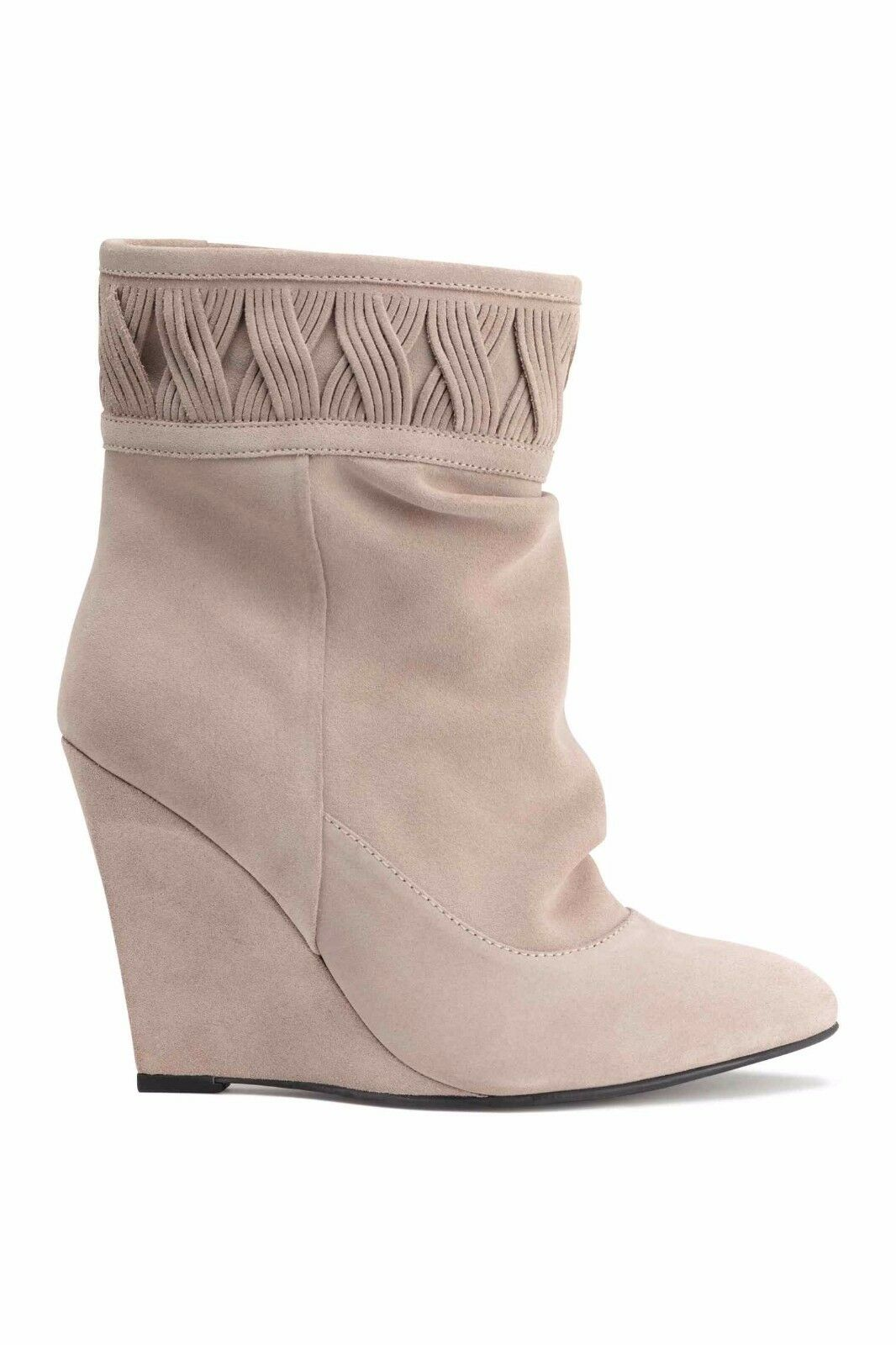 H&M LIGHT BEIGE REAL 100% SUEDE WEDGE HEELDED ANKLE BOOTS Schuhe UK 6.5 EU40 BNWT