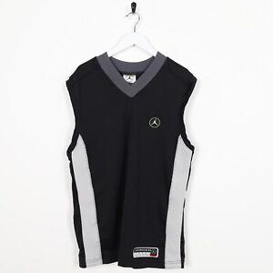 Vintage-90-039-s-NIKE-AIR-JORDAN-Back-Logo-Sleeveless-T-Shirt-Tee-Vest-Black-Small