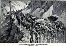 1916 Schwere Artillerie auf Paßhöhe in Transsylvanien * antique print