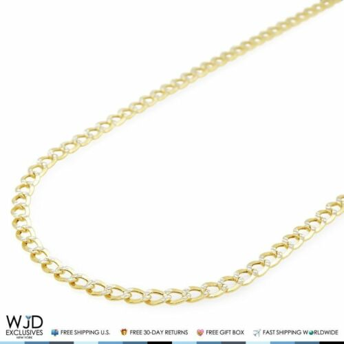 """14K Yellow Gold Diamond Cut 3.5mm Cuban Curb Link Chain Necklace 18"""""""