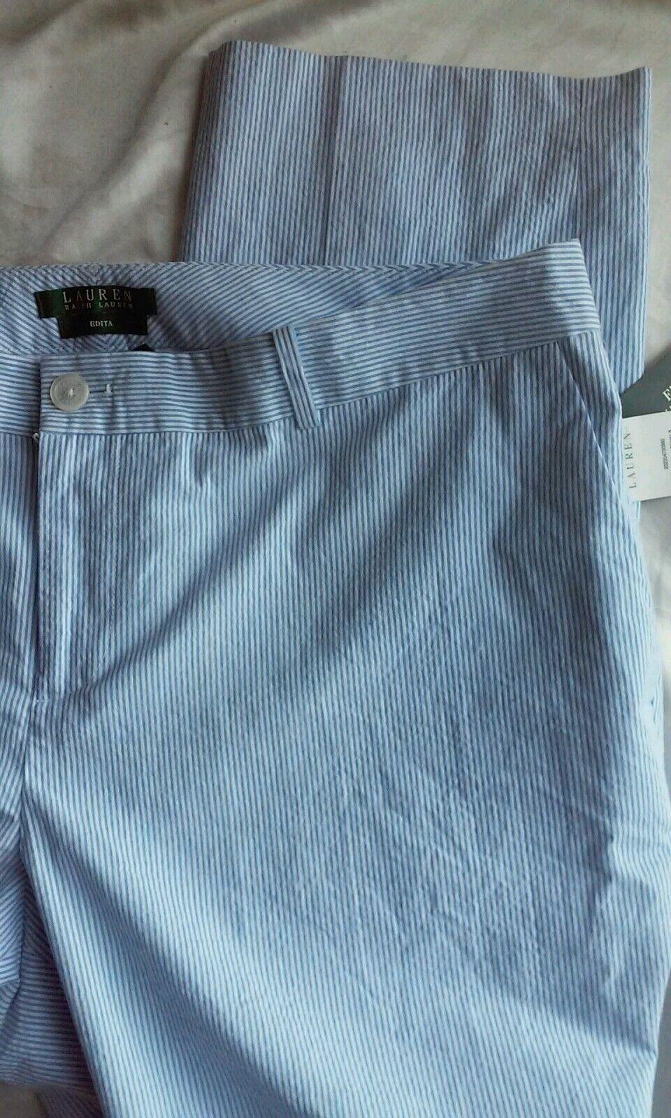 LAUREN RALPH LAUREN Edita Blau Pinstripe Dress Pants Trousers Sz14W Nwt