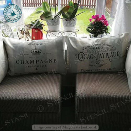French Champagne STENCIL 4 sizes CI Crate Vintage Chic Wine SUPERIOR 250 MYLAR