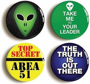 4-x-ALIEN-BADGE-BUTTON-PINS-EXTRA-TERRESTRIAL-UFO-Size-is-1inch-25mm-diameter