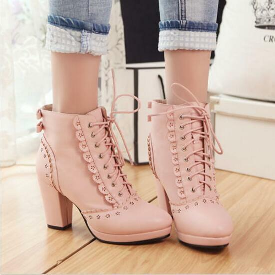 New Womens Lolita Block Heel Platform Lace Up shoes Pumps WIng Tip Ankle Boots