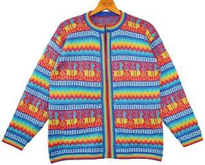 d'alpaga Cardigan Multicolore au M en L veste Alpaga Cardigan Turquoise Gr P Rose laine IPqf76wx