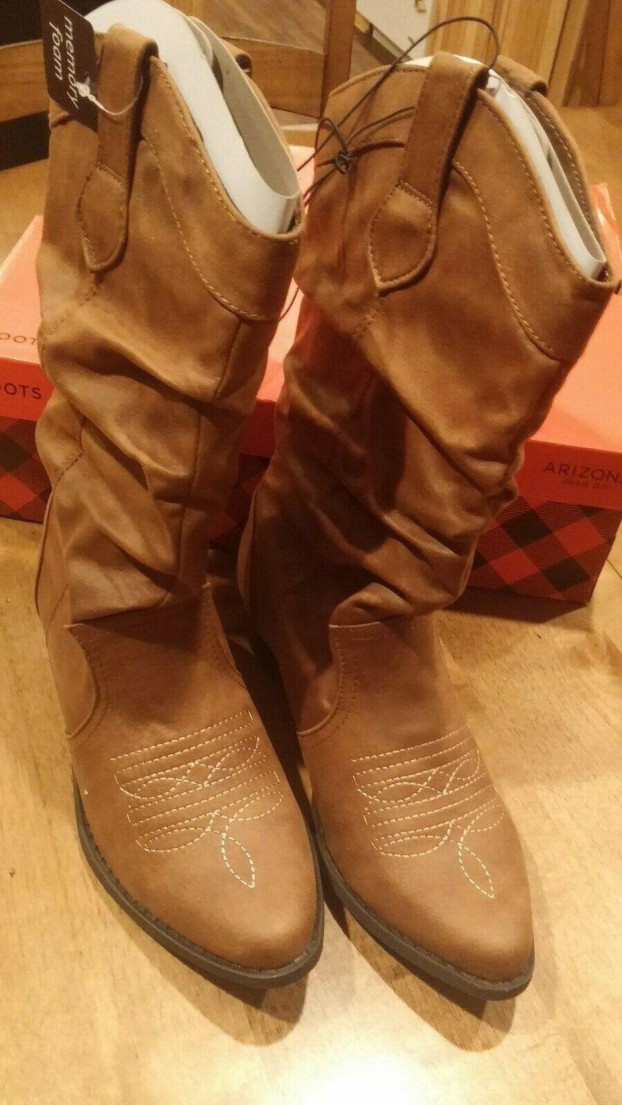 NEW W TAGS & Original Box Arizona Slouch Boot DK BROWN 6 MEDIUM MEMORY FOAM