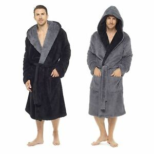 1f29c1f52a Mens Shaggy Fleece Hooded Dressing Gown Robe Size - M-XXL Winter ...
