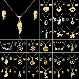Women-Gold-Stainless-Steel-Jewelry-Set-Pendant-Charm-Necklace-Earrings-Wedding