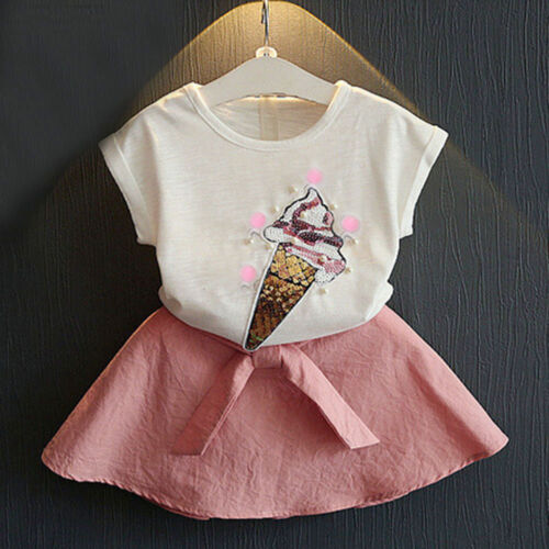 2PCS Kids Toddler Baby Girl Tops Shirt+Bow Tutu Skirt Party Dress Outfit Clothes
