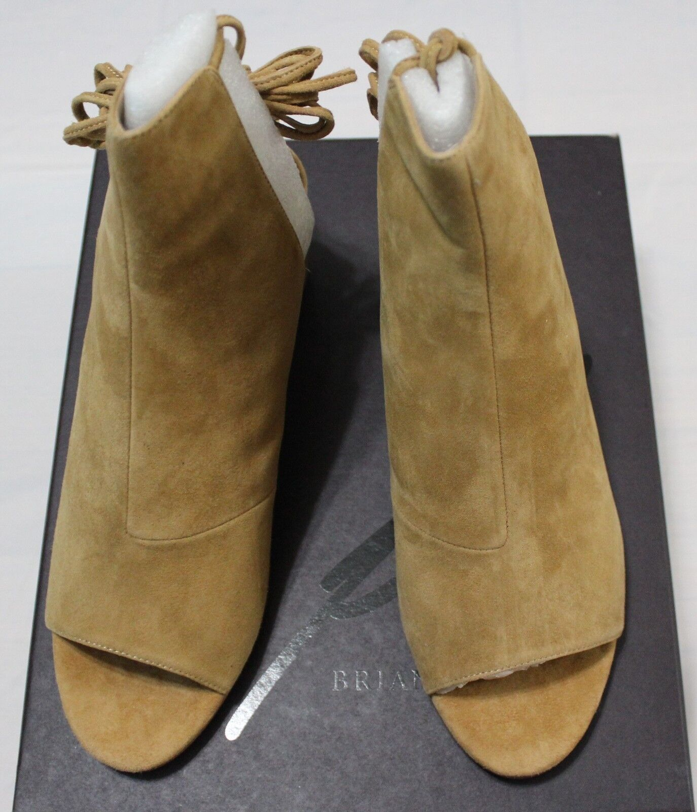160 BRIAN ATWOOD BALI CAMEL OPEN TOE SUEDE BOOTIE 8.5M