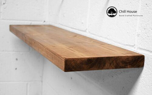 Rustic Floating Shelf Wood Solid Chunky Handmade with Brackets 12x1.5