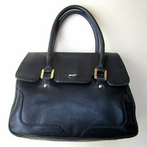 PAUL-COSTELLOE-Handbag-Black-Leather-Medium-Flap-over-Two-Handle-Grab-Pockets