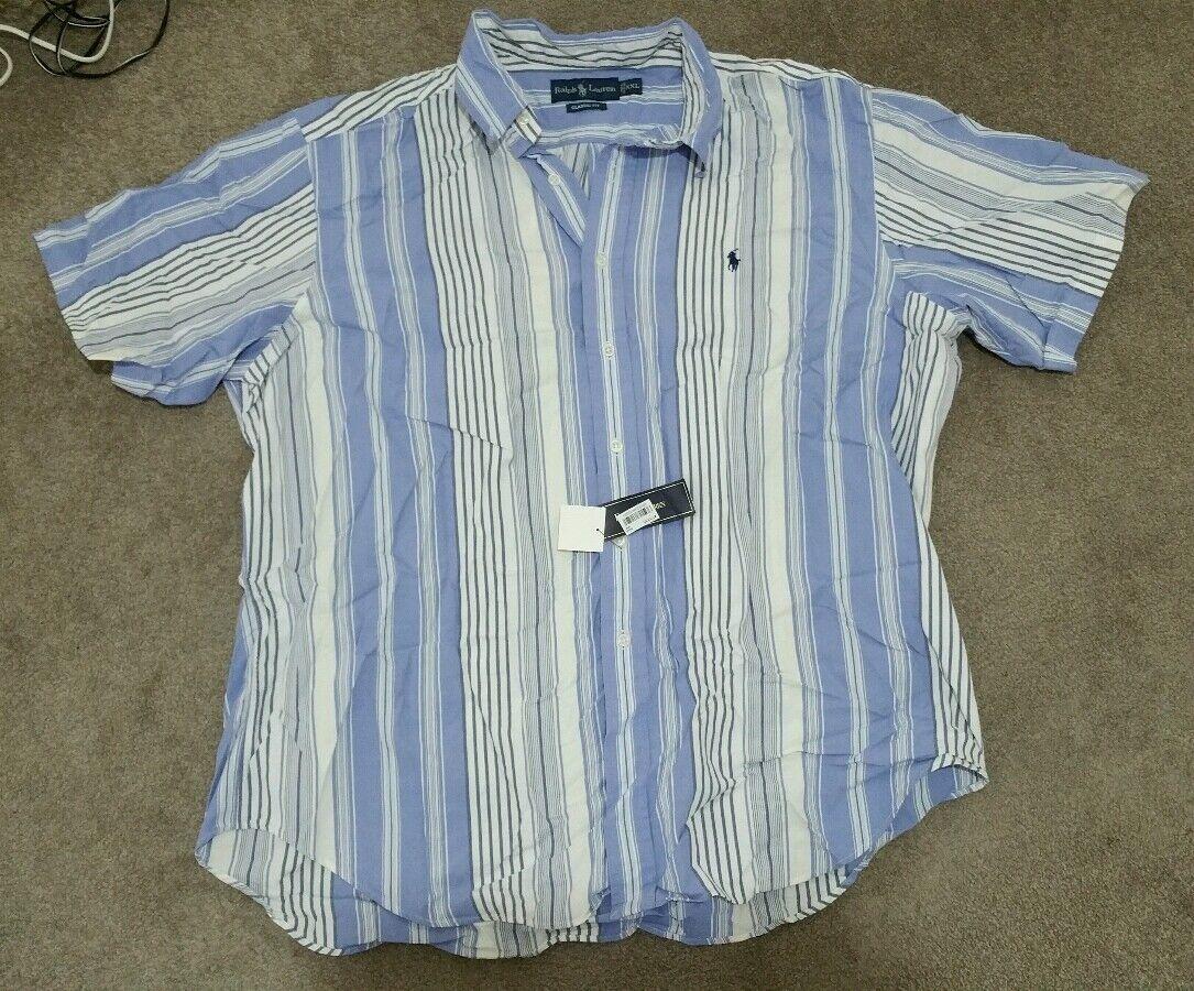 RALPH LAUREN CLASSIC FIT DRESS SHIRT STRIPED W SIGNATURE PONY MENS