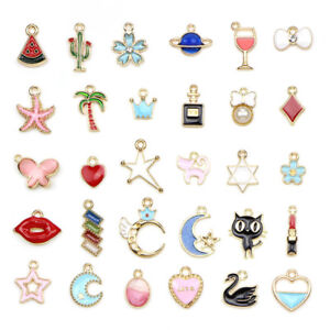 30PCS-Bulk-Lots-Enamel-Mix-Enamel-Pendants-Charms-Beads-Jewelry-Making-DIY-WL
