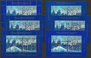 Denmark-DJF-Winter-Landscape-1980-1985-1987-Local-Xmas-TB-Seal-6-Sheets-VF-NH