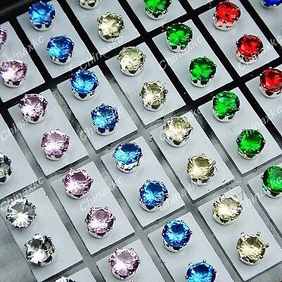 New 72pcs Mix Stainless steel Cubic zircon Stud Earrings Wholesale Jewelry Lots
