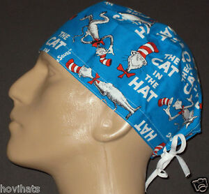 DR-SEUSS-CAT-IN-THE-HAT-STORY-BOOK-COVER-SURGICAL-SCRUB-HAT-FREE-SIZING