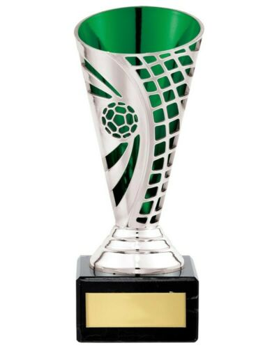 Football Trophies Silver//Green Defender Cup Trophy 3 sizes FREE Engraving