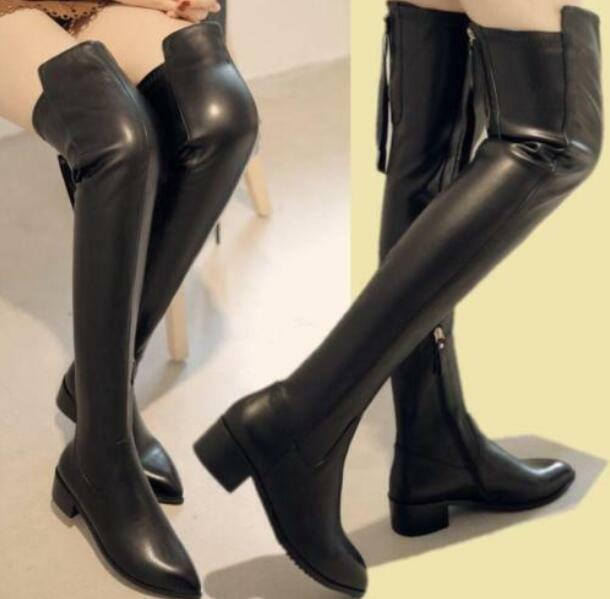 Donna Real Leather Warm Thigh High Over Knee Flat Riding stivali Dimensione 60cm Hot