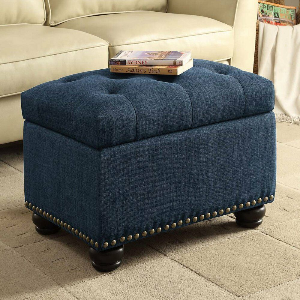 Blue Fabric Storage Ottoman Tufted Seat Bed Living Room Foot Stool Turned  Feet