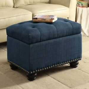 Image Is Loading Blue Fabric Storage Ottoman Tufted Seat Bed Living