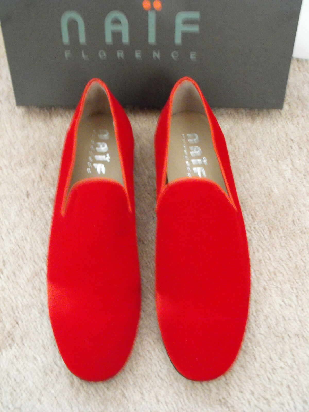 495 NEW BNIB NAIF ITALY rot Velvet Loafers Größe EU 45 UK 11 US 12
