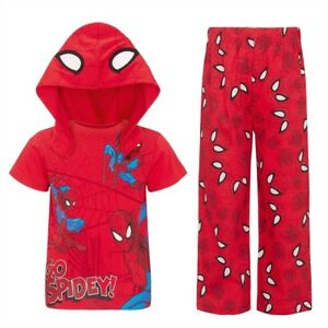 Marvel Spider Man PJs Pyjamas with detachable hood age 3-4;  5-6 and 7-8 Sealed