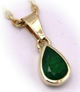 Damen-Anhaenger-echt-Smaragd-Tropfen-echt-Gold-750-18-karat-Gelbgold-Qualitaet-Neu