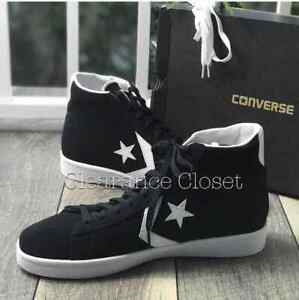 Sneakers-Men-039-s-Converse-Pro-Leather-Mid-Top-Suede-Black-white