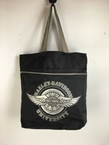 Harley-Davidson-University-Black-Nylon-Tote-Bag-Zip-Pocket-Big-Logo-Spell-Out