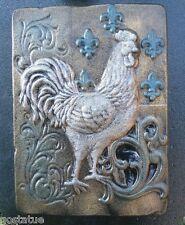 Rooster fleur plaque mold concrete plaster garden mould