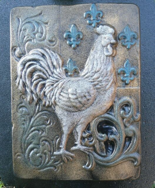 Gostatue MOLD plastic rooster fleur plaque concrete plaster mold garden mould