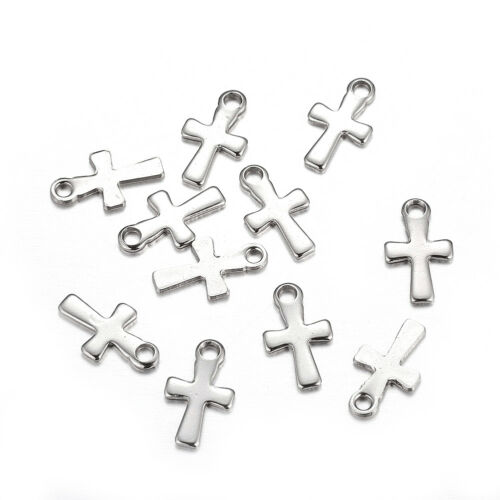 20pcs 304 Stainless Steel Cross Charms Smooth Dangle Pendants Mini Findings 12mm