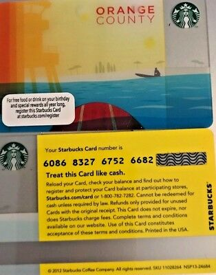 New No Swipes No Value HTF 2012 ORANGE COUNTY Starbucks Card