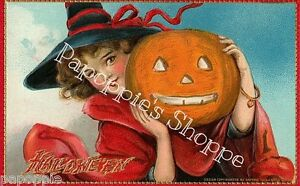 Fabric-Block-Halloween-Vintage-Postcard-Image-Girl-with-Pumpkin-Witch